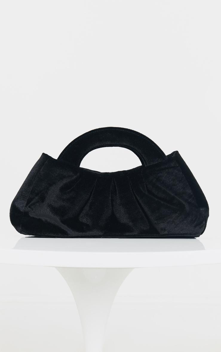Black Velvet Handle Ruched Clutch 1