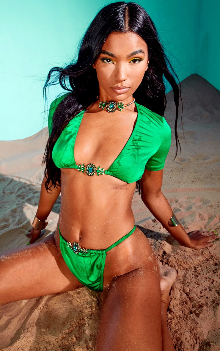 Emerald Green Jewel Front Bikini Bottoms 3
