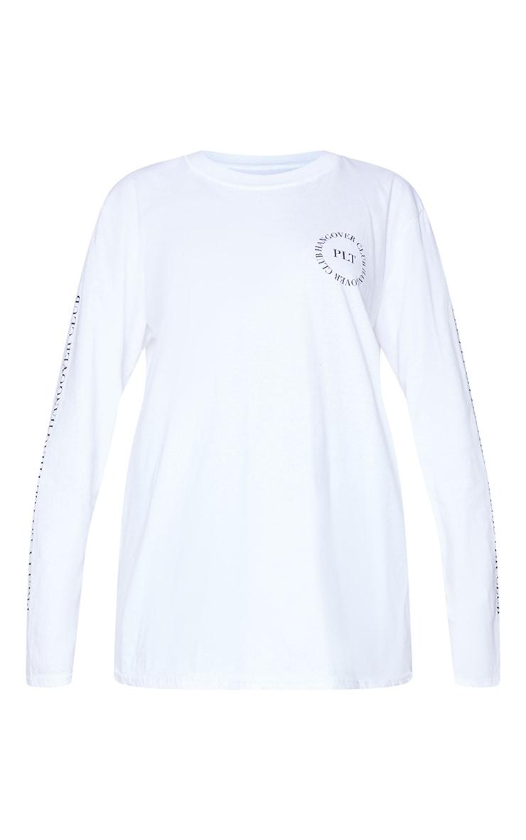 PRETTYLITTLETHING White Hangover Club Arm Print Long Sleeve T Shirt 5