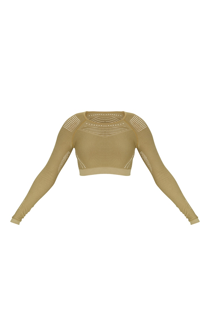 PRETTYLITTLETHING Khaki Sport Long Sleeve Cut Out Seamless Top 5