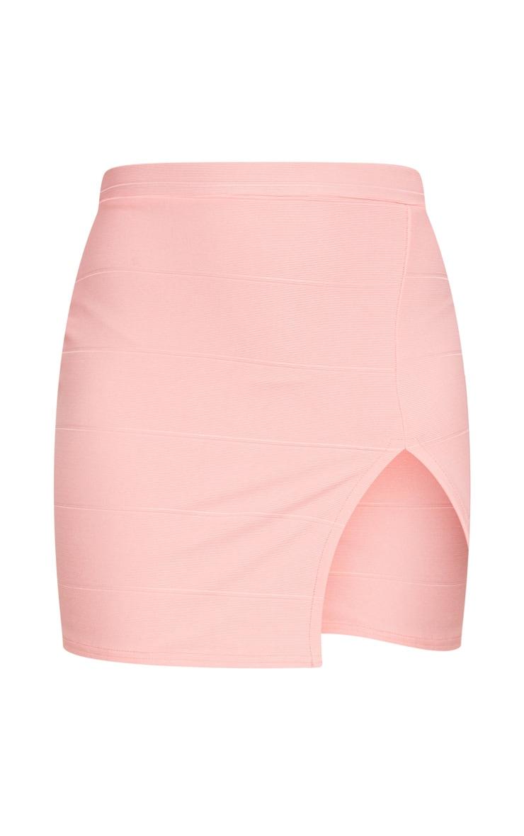 Peach Bandage Split Mini Skirt 8