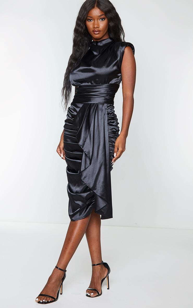 Black Satin Ruched Draped Midi Dress 3