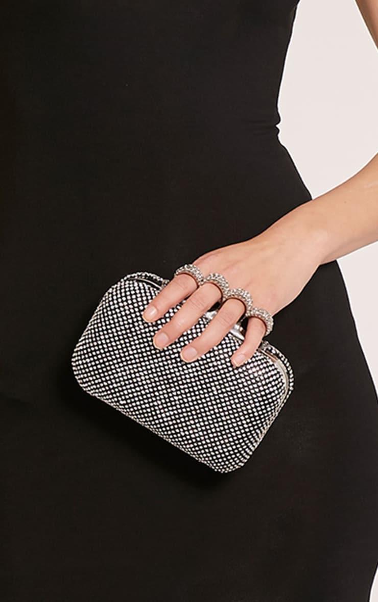 Noa Black Crystal Knuckle Duster Clutch Bag 2