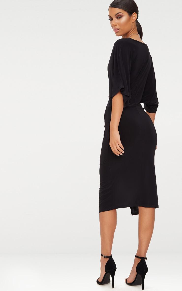 Black Slinky Batwing Twist Detail Midi Dress  2