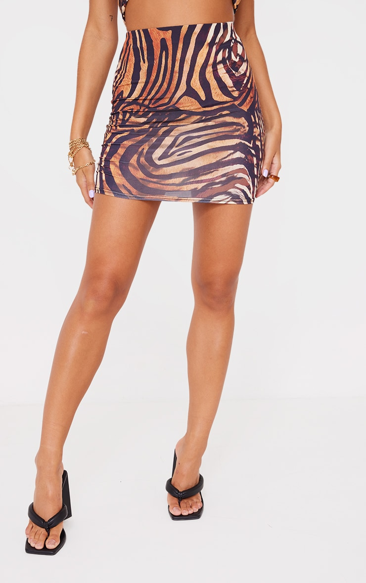 Multi Animal Print Slinky Mini Skirt 2