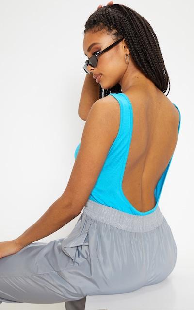88a6658233a32 Basic Bright Blue Jersey Scoop Low Back Longline Vest