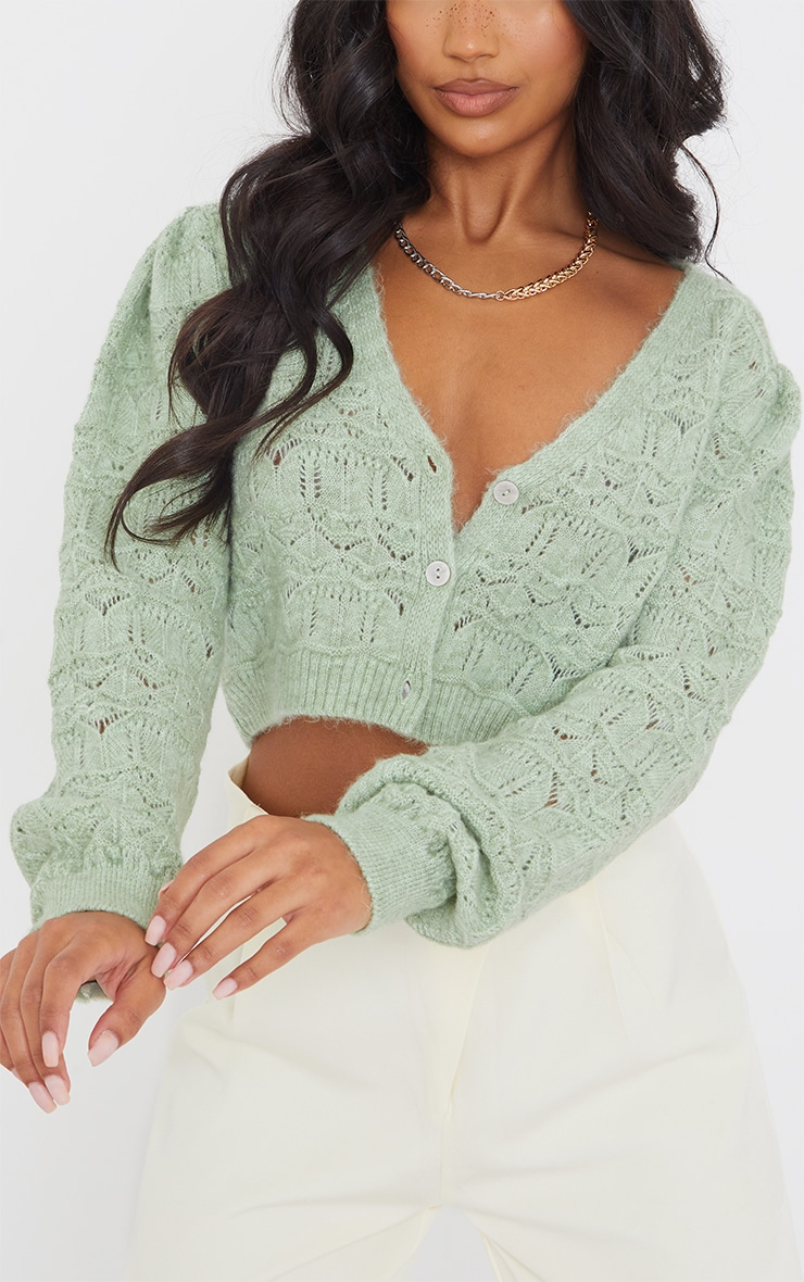 Sage Green Soft Pointelle Knitted Button Up Cardigan 4