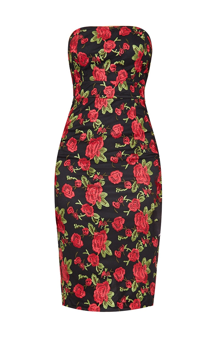 Black Floral Embroidered Bandeau Midi Dress 4