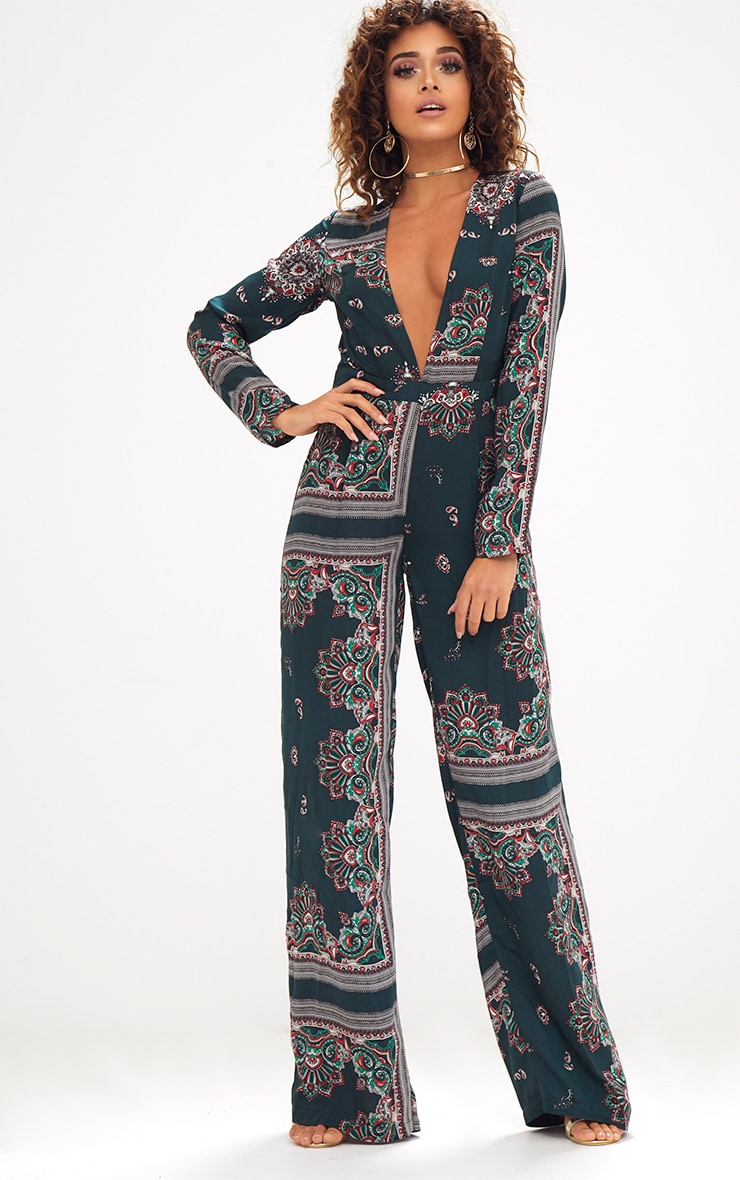 Forest Green Scarf Print Long Sleeve Plunge Jumpsuit 1