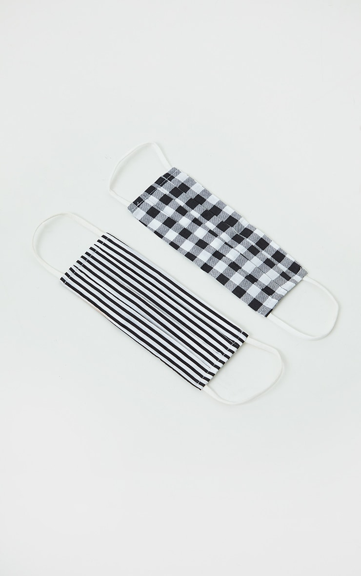 Black Gingham And Stripe Two Pack Face Mask 1