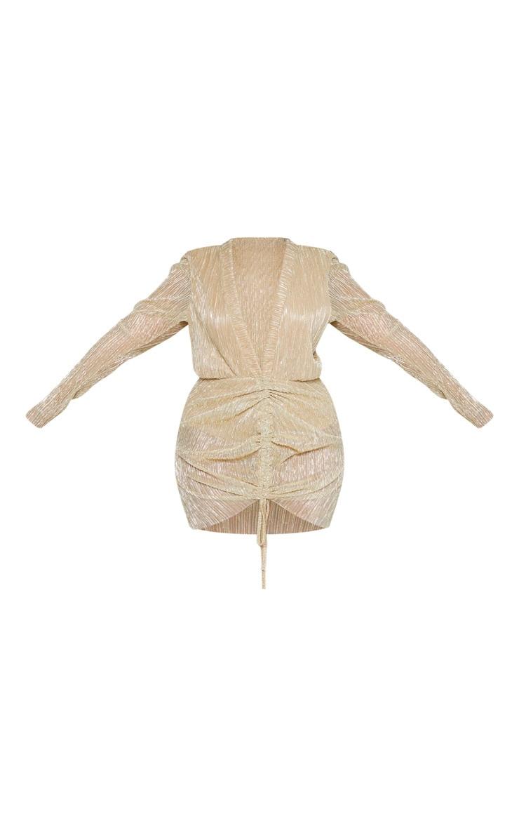 Plus Gold Plisse Ruched Detail Bodycon Dress 3