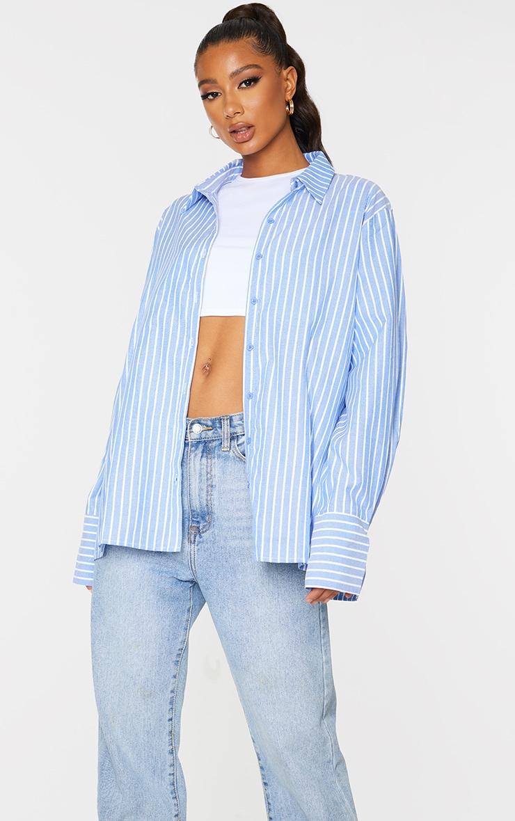 Blue Oversized Pinstripe Cuff Shirt 3