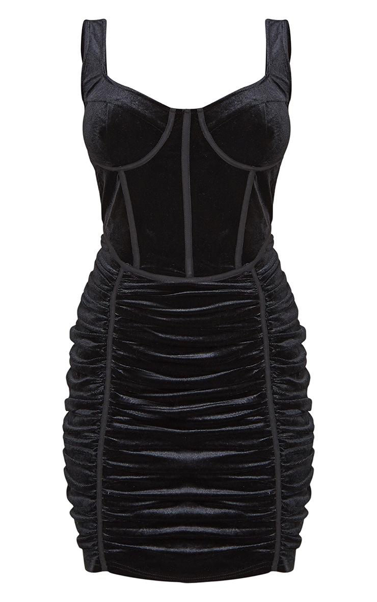 Black Velvet Corset Ruched Binding Detail Bodycon Dress 5