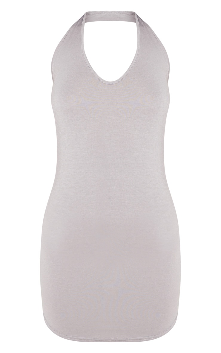 Basic Dove Grey Halterneck Bodycon Dress 3