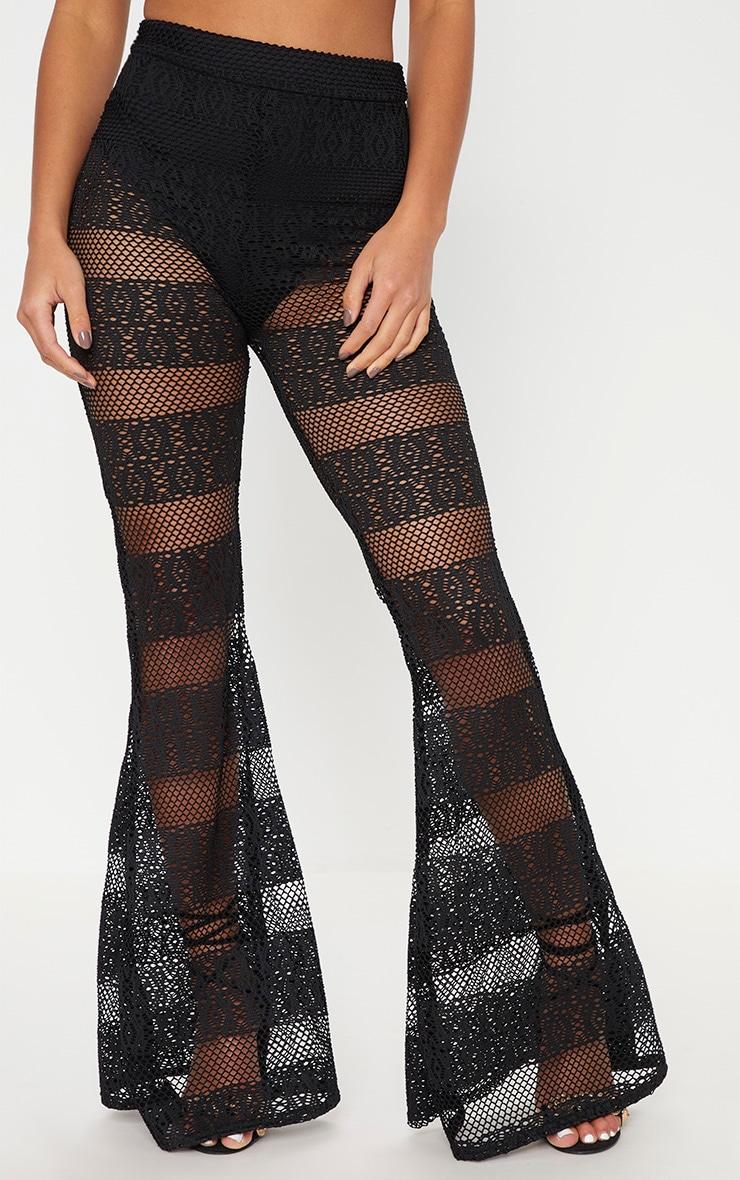 Petite Black Crochet Lace Flared Trousers 2