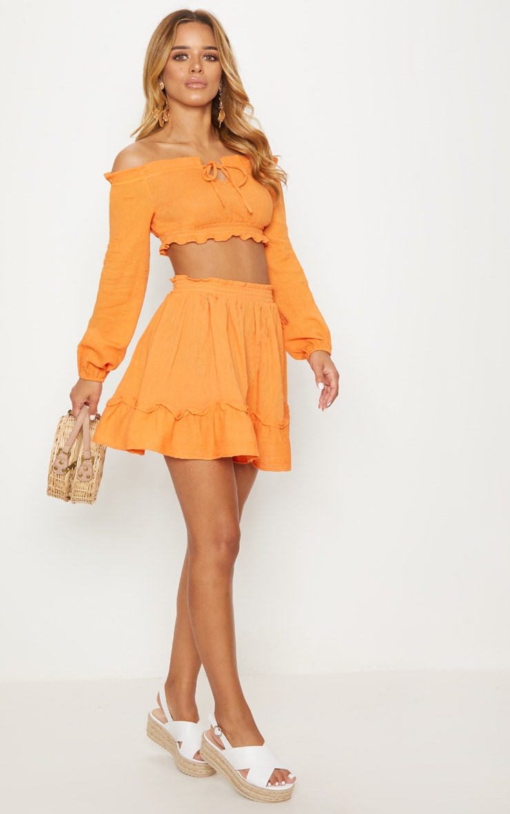 Petite Tangerine Cheesecloth Floaty Skirt 5