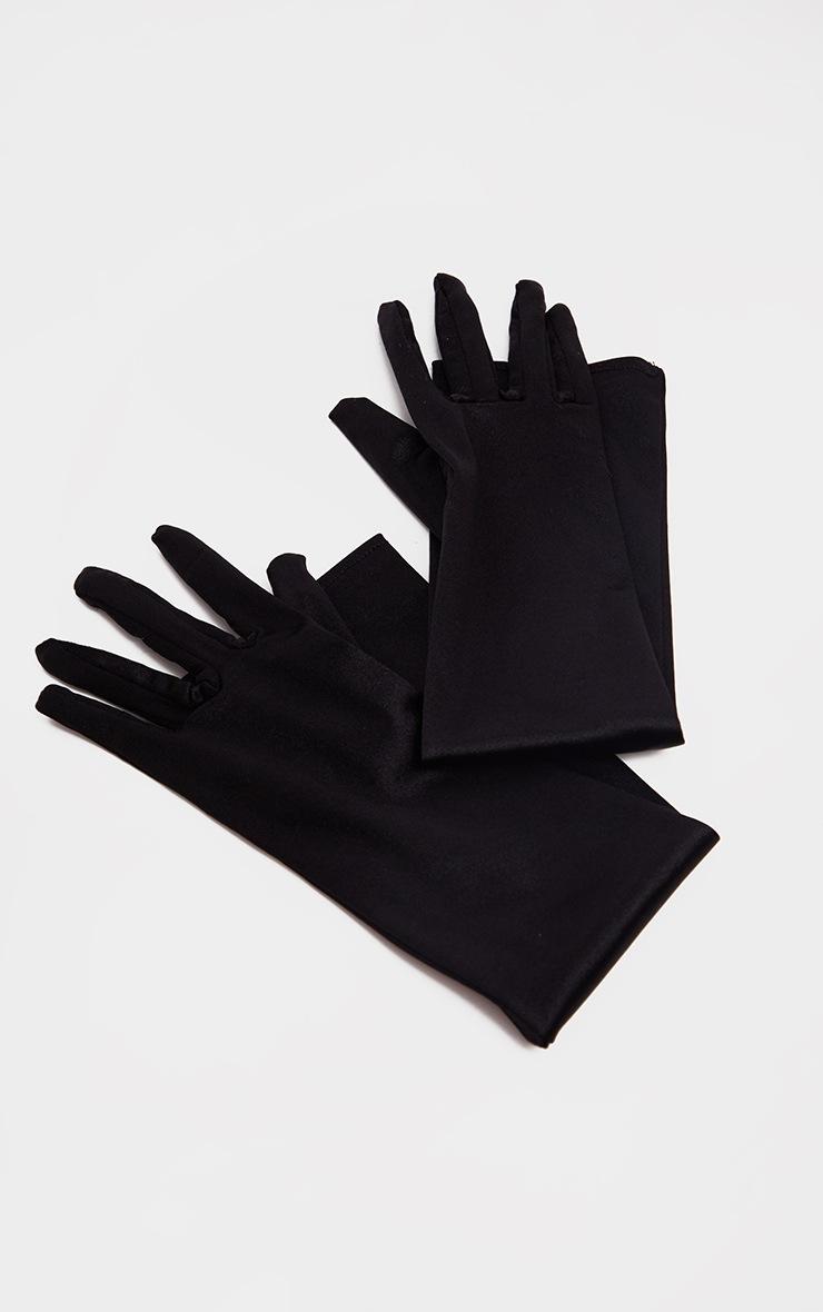 Black Plain Satin Long Gloves 2
