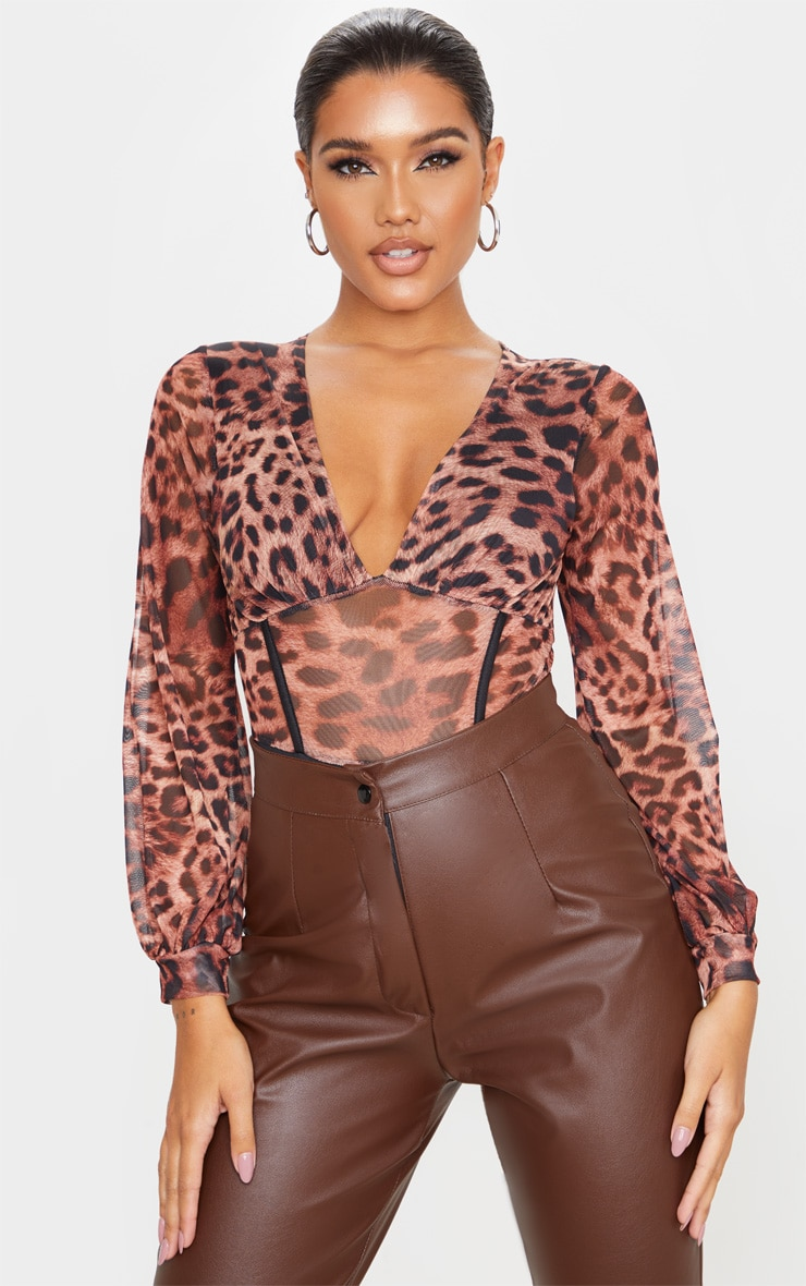 Tan Mesh Leopard Print Caged Detail Bodysuit 1