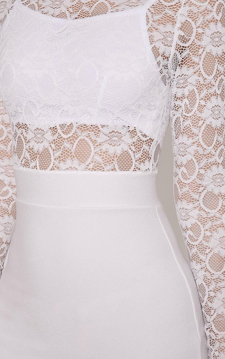 Kizzy White Lace Top Midi Dress 6