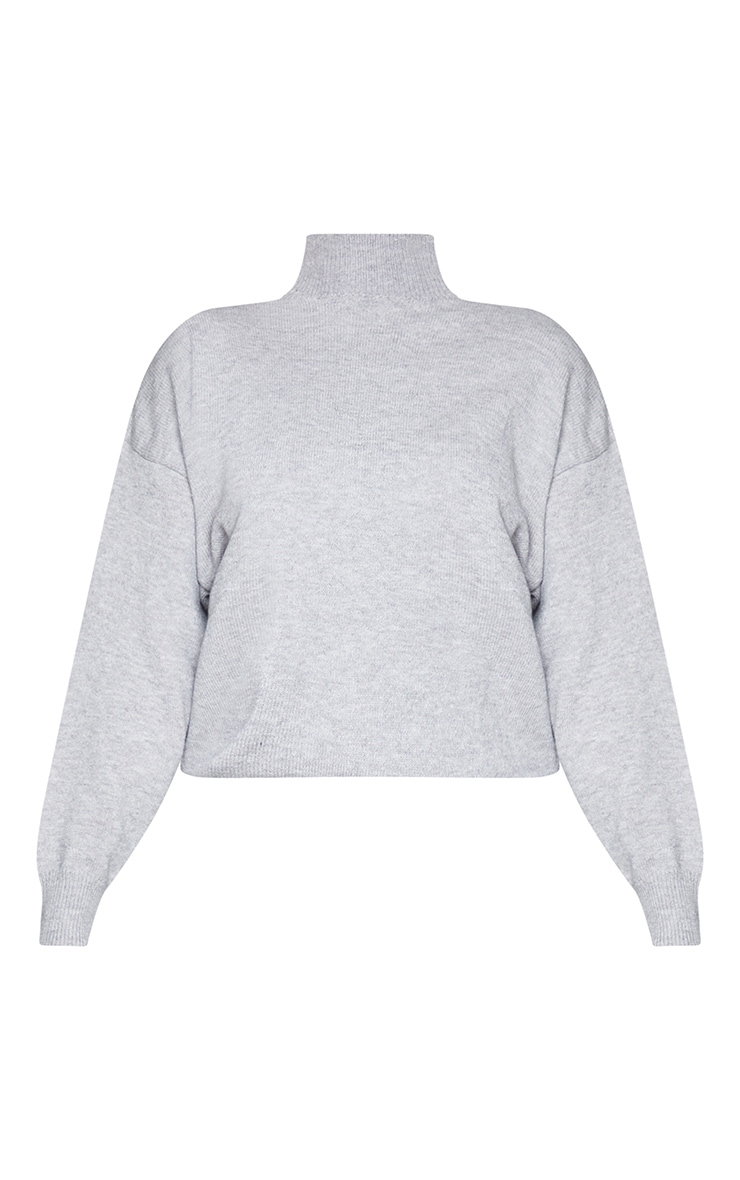 Grey Soft Knit Funnel Neck Sweater 5
