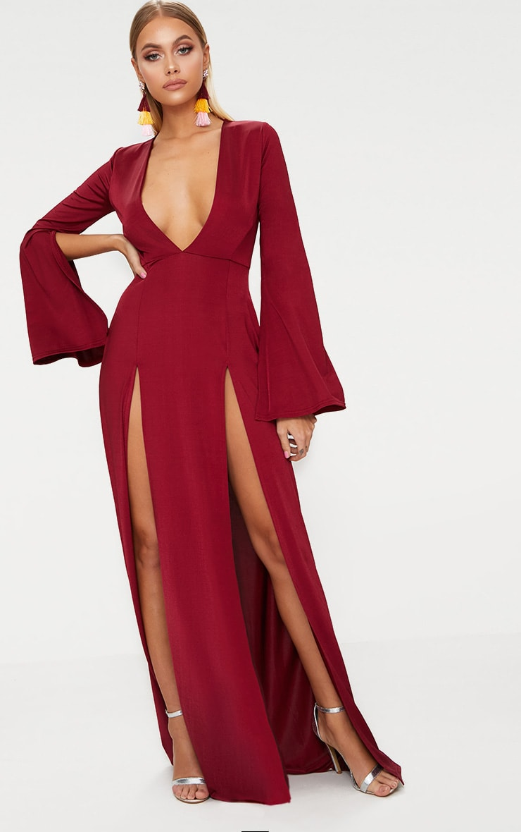 Burgundy Plunge Extreme Double Split Long Sleeve Maxi Dress 1