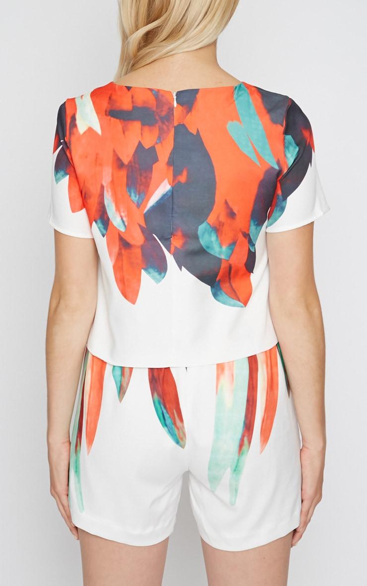 Mika White Crop with Petal Print  2