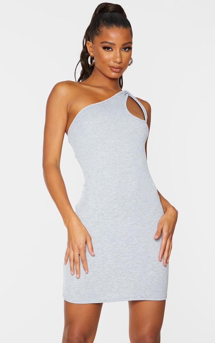 Grey Rib Knot Detail One Shoulder Bodycon Dress 1