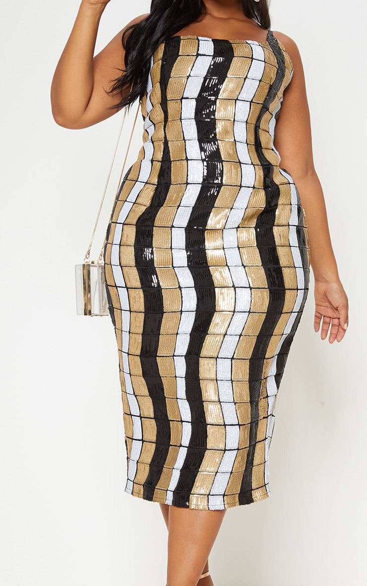 Black Sequin Block Square Neck Midi Dress 6