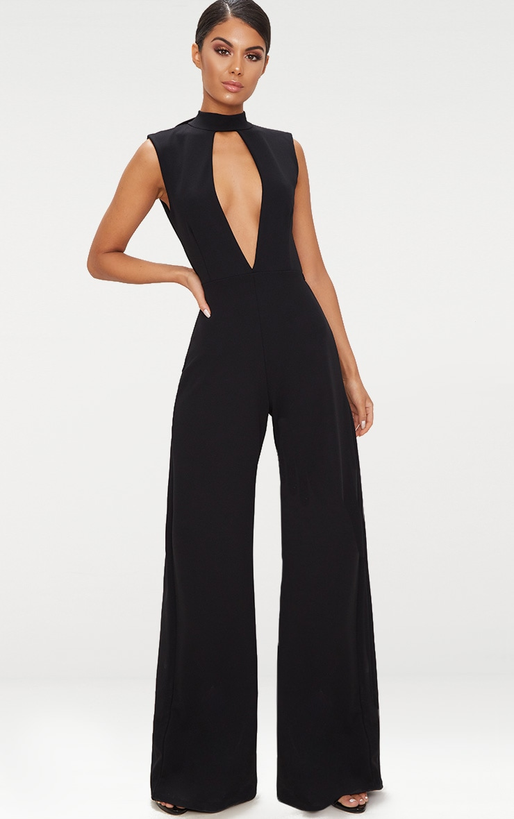 Black Crepe Sleeveless Keyhole Wide Leg Jumpsuit 1