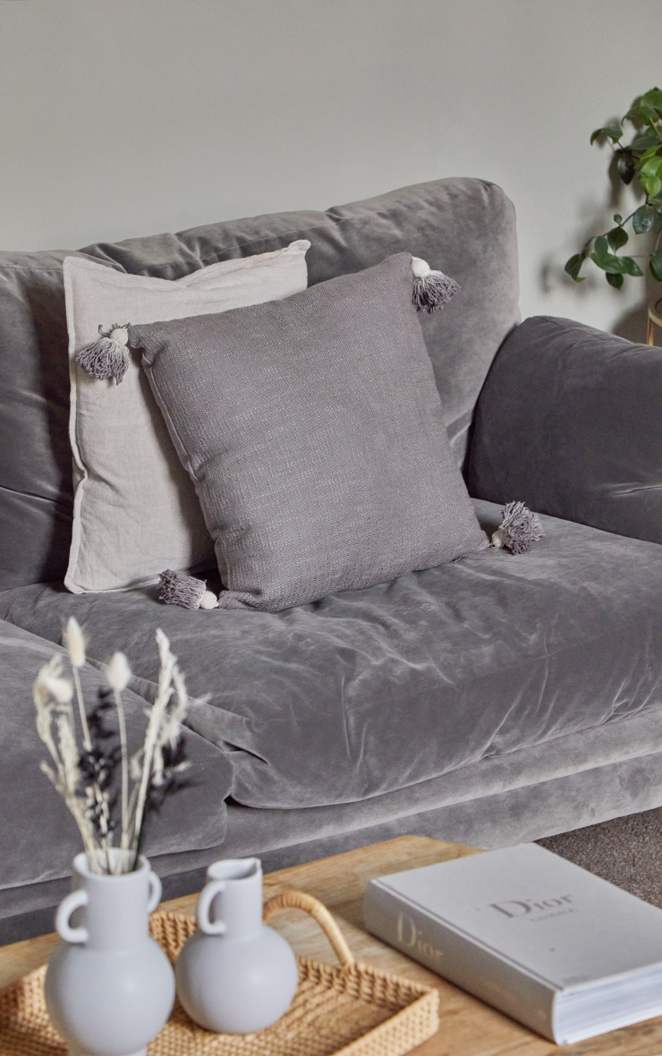 Grey Tassel Cushion 1
