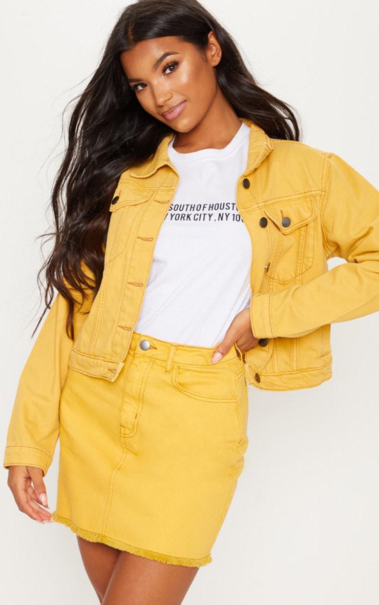 Mustard Distressed Denim Mini Skirt 1