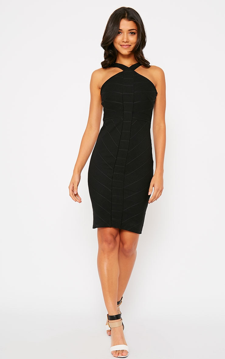 Becka Black Cross Front Bandage Dress 3