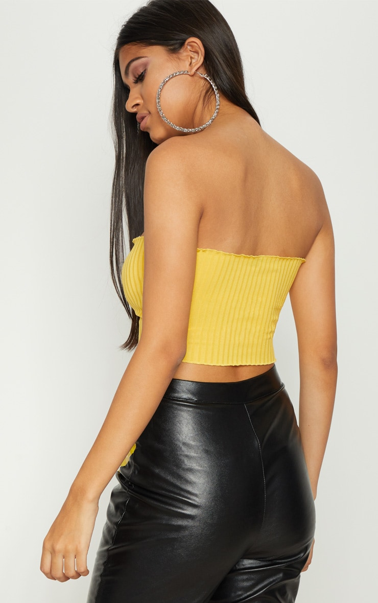 Yellow Rib Frill Hem Bandeau Crop Top 2