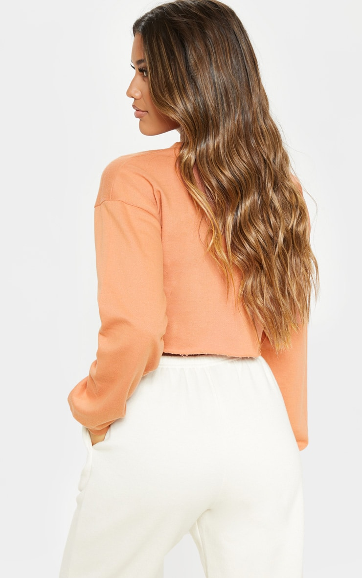 Beau Deep Peach Cut Off Crop Longsleeve Sweater 2