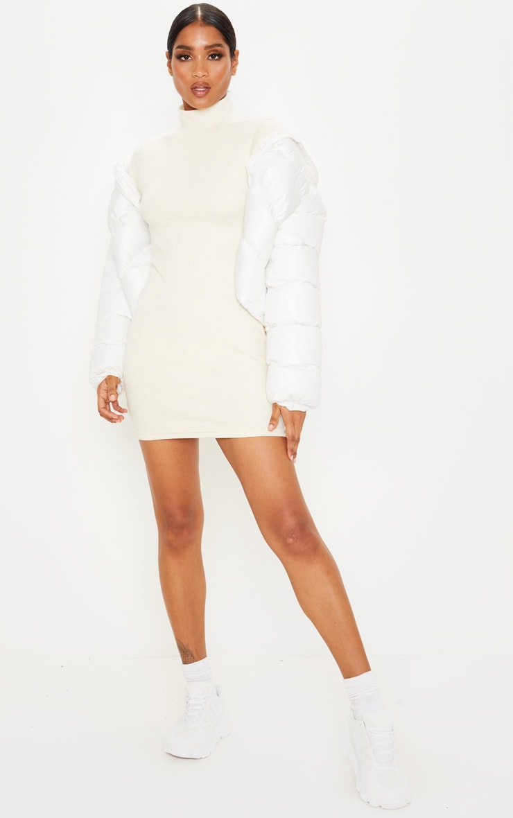 Cream Knitted Rib Bodycon Funnel Neck Dress 4