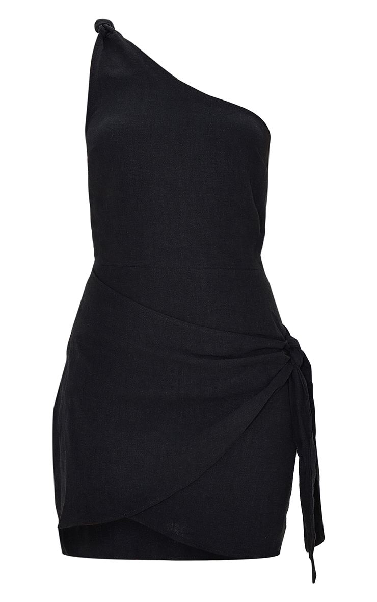 Black Linen Look One Shoulder Knot Detail Wrap Skirt Bodycon Dress 5