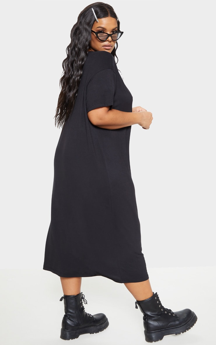 Plus Black Oversized Boxy Midi T Shirt Dress 2