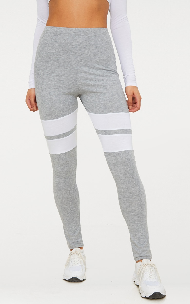 Grey Marl Double Track Stripe Legging  2
