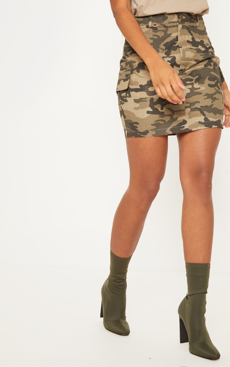 Green Cargo Camo Mini Skirt 2
