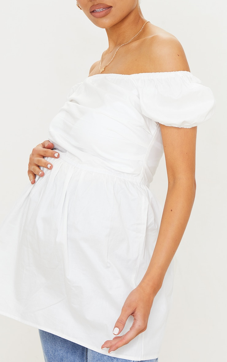 Maternity White Cotton Poplin Peplum Top 4