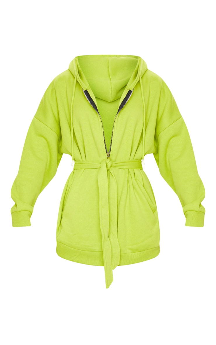 Lime Oversized Longline Zip Belted Hoodie Jacket 5