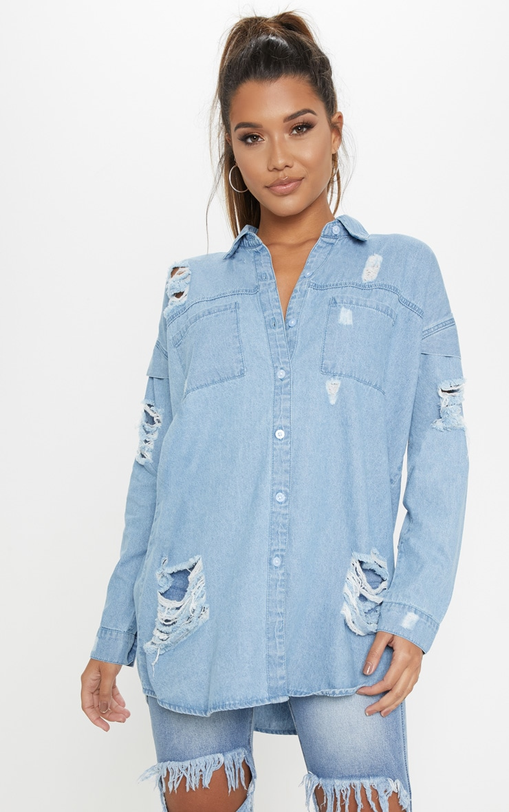 Light Wash Oversized Denim Shirt 4