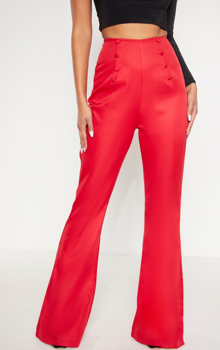 Red Button Detail Wide Leg Trouser 2