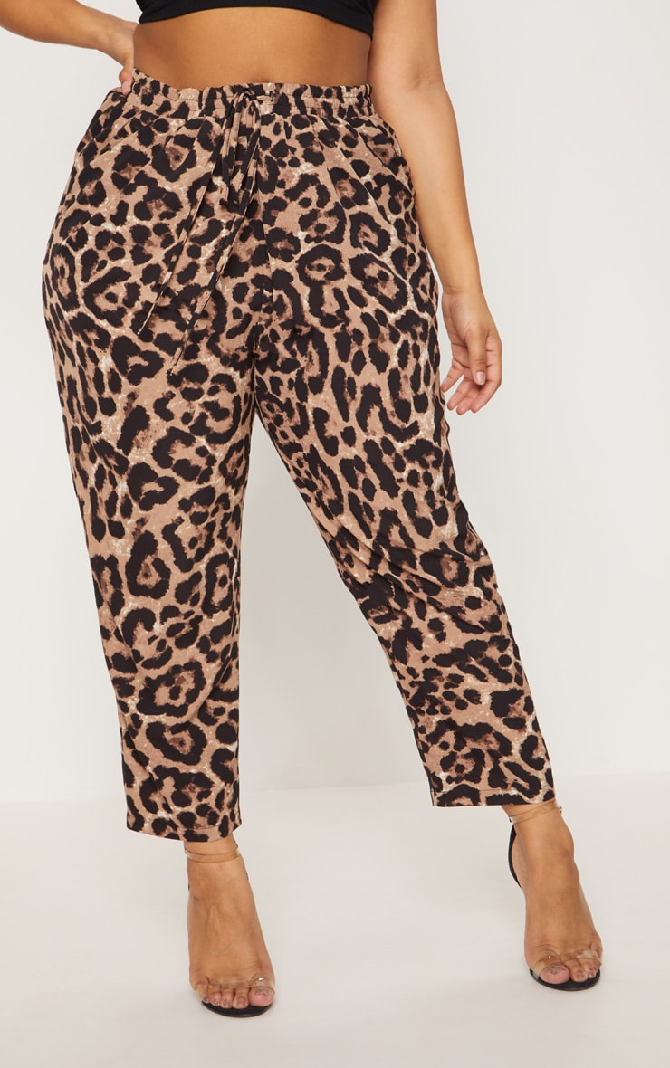 Plus Tan  Leopard Print Casual Pants  2