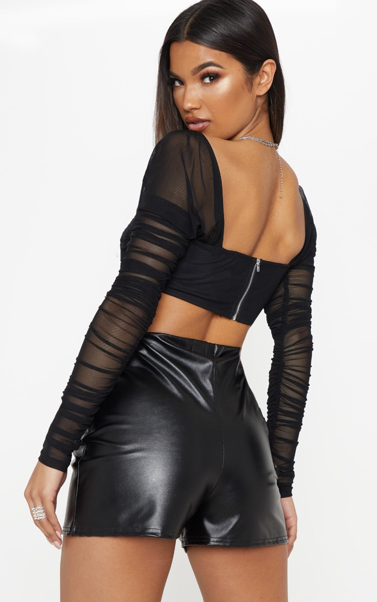 Black Ruched Lace Up Detail Mesh Crop Top 2