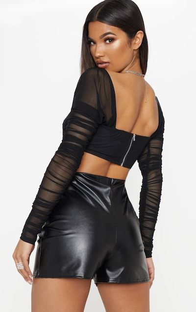Black Ruched Lace Up Detail Mesh Crop Top