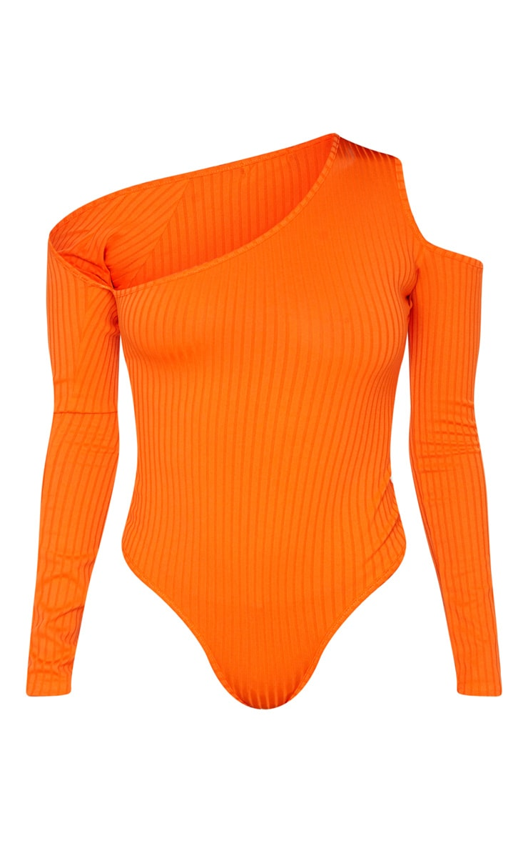 Orange Rib Cut Out Long Sleeve Bodysuit 5