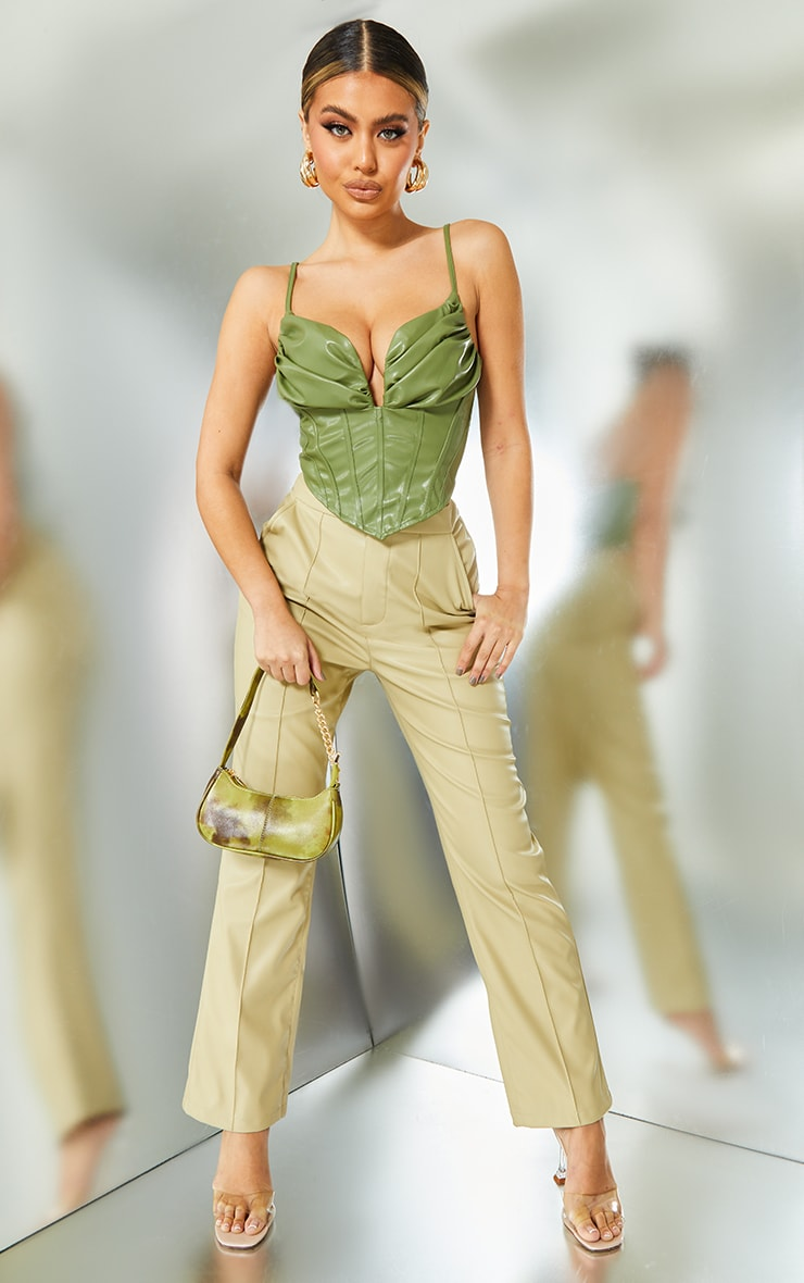 Khaki Faux Leather Ruched Bust Pointed Hem Corset 3