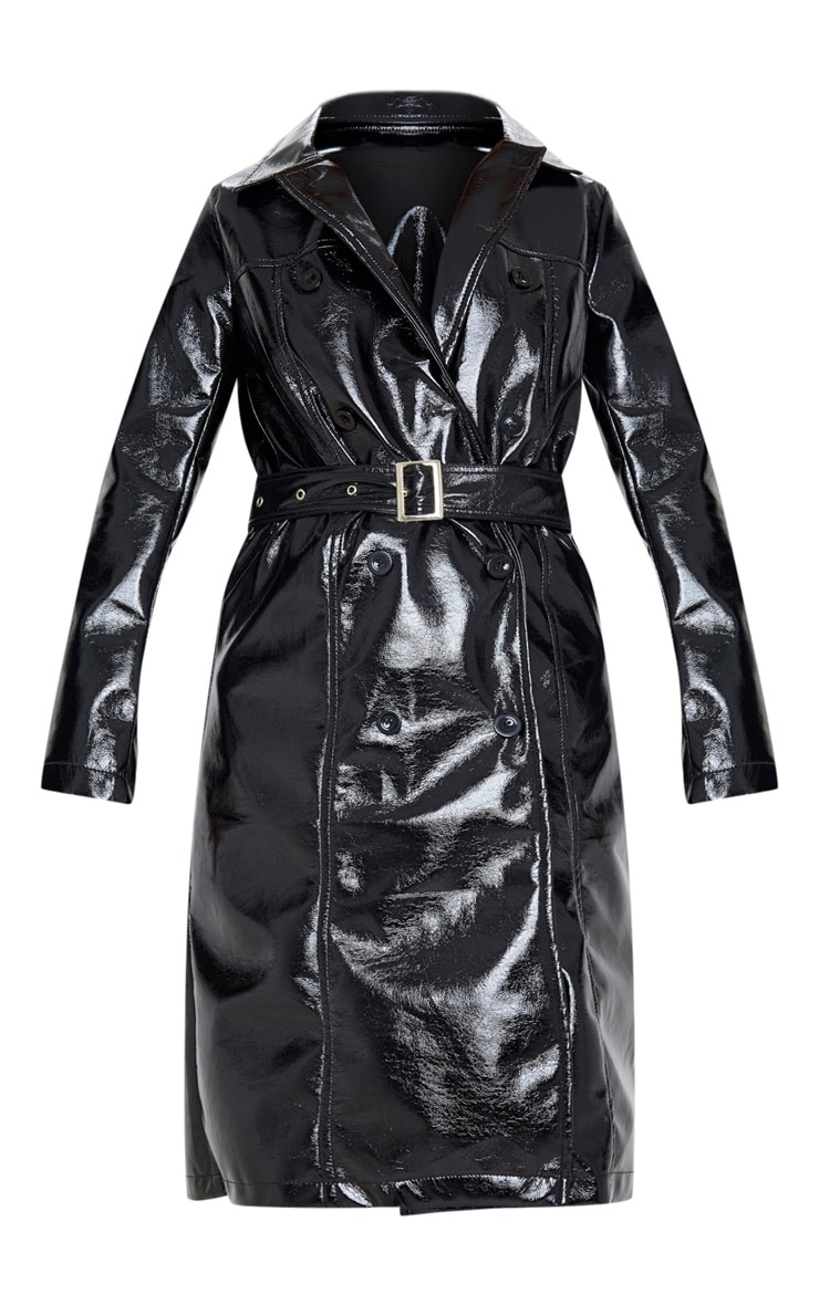 Black Vinyl Crinkle Trench Coat 3