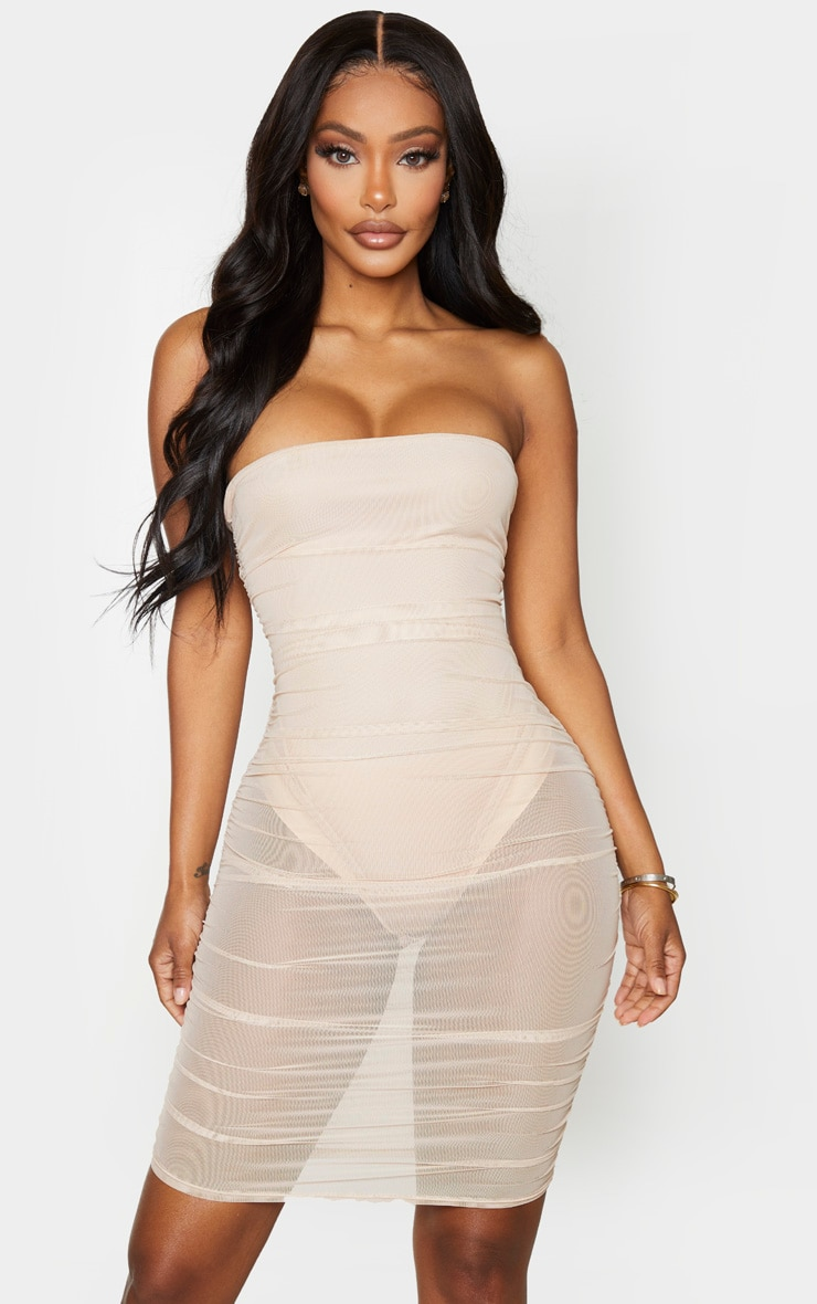 Shape Nude Mesh Bandeau Ruched Bodycon Dress 1